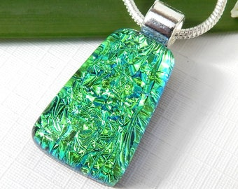 Emerald Green Dichroic Glass Pendant, Fused Glass Jewellery, Super Sparkly Green Art Glass Necklace, St Patricks Day Pendant