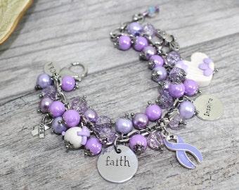 Personalized Hodgkin's Lymphoma Awareness Bracelet in Stainless Steel   Epilepsy Awareness Bracelet   Lavender Awareness   Lymphoma