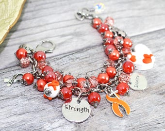 Kidney Cancer Bracelet in Stainless Steel | Leukemia Bracelet | Cancer Awareness Bracelet | Kidney Cancer Awareness Bracelet | Leukemia