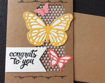 Congratulations, Friendship, Promotion, Graduation, Butterflies, Handmade, stampin up