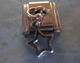 Silver Star Dangling  9mm Italian Style Nomination Bracelet Charm Stainless Steel Bracelet Making Silver Toned single charm dangler