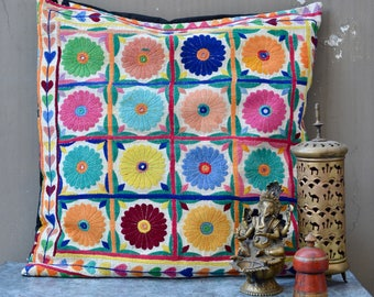 Indian cushion embroidered textile vintage Banjara pillow ethnic 70's hippie boho style India tribal textile mirrors hearts floor bed decor