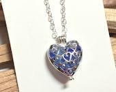 Sea Glass Pendant, Silver Heart Locket, Cornflower Blue Sea Glass, Beach Glass Jewelry, Sterling Silver, Silver Filigree Locket, Reversible