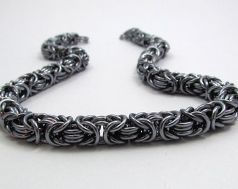 Gunmetal Dark Silver Chainmaille Necklace – Byzantine Chainmaille - Nickel Free Chain Necklace - Handmade Chainmail