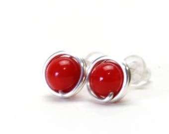 Red Coral Stud Earrings - Handmade Wire Wrapped, Fine (99%) Silver Gemstone Studs