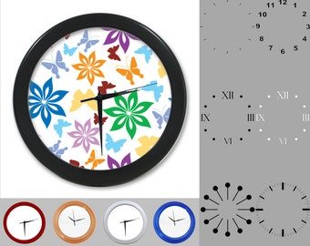 Wild Rainbow Flower Wall Clock, Crazy Design, Colorful Graphic, Customizable Clock, Round Wall Clock, Your Choice Clock Face or Clock Dial