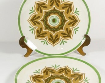 Royal China Middlebury Cavalier Ironstone Dinner Plates - Set of 2 - Midcentury Dinnerwear