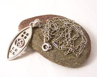 Vintage Sterling Silver Mackintosh Pendant Necklace, Vintage Silver Pendant, Oval Pendant Necklace