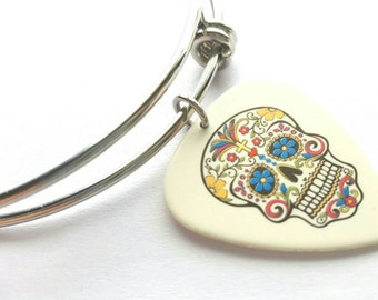 Sugar Skull Guitar Pick Adjustable Bangle - stainless steel