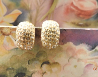 Vintage Jewelry Crystal Covered Gold Washed Earrings