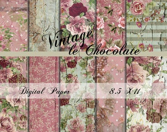 ON SALE Digital Paper, Digital Scrapbook Paper,  Old Torn Wallpaper, Shabby Rose Texture Papers, Photo Backdrop. No. P187