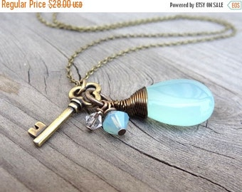 ON SALE Bronze Wire Wrapped Aqua Blue Chalcedony with Crystal Beads & Key Charm Handmade Necklace