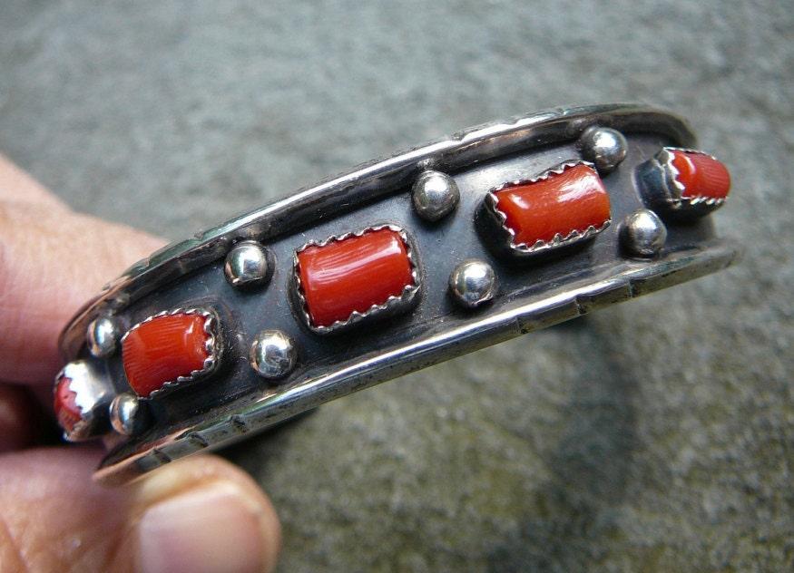 Red Coral Bracelet, Native American Coral Bracelet