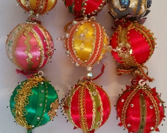 1970's Christmas Tree Decorations ModVintage Jeweled Satin Ornaments Set of 9 Decorative Hand Decorated Sequin Xmas Ornaments