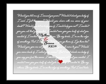 California wedding gift, him her, california wall art california art print san diego san francisco art california state map california print