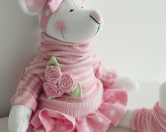 Mouse in  pink striped turtle neck sweater