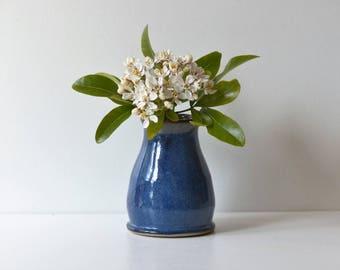 Beautiful Blue Stoneware Ceramic Bud Vase Pottery UK