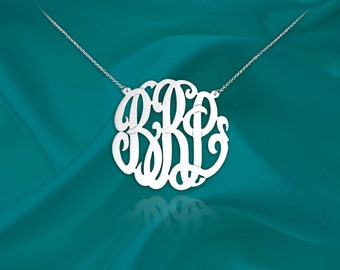 Initial Necklace - 1 inch Handcrafted Designer - Sterling Silver - Personalized Monogram Initial Necklace - Made in USA