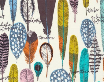 Birds of a Feather by Sarah Watson Bird's Eye View Cloud 9 Fabrics  OE 100 Certified Organic Cotton Feather Fabric Birds Fabric Modern