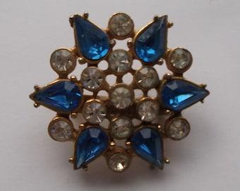 Vintage 1960s Brooch Pin Bejewelled Blue Rhinestones