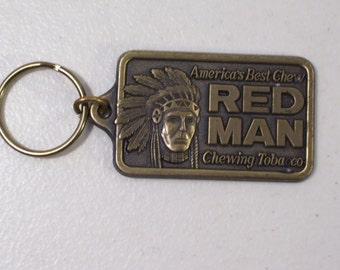 Vintage Redman Chewing Tobacco Metal Key Chain, Pinkerton Tobacco Co. 1988