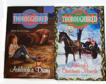 Thoroughbred Super Edition Horse Books,Ashleigh's Diary and Ashleigh's Christmas Miracle, Paperback Set of 2 Books (1994, 1995)