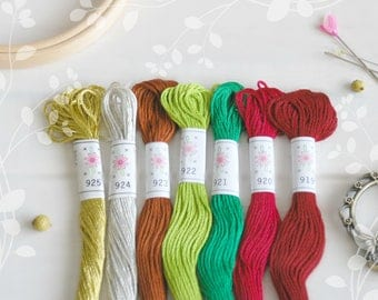 "Embroidery Floss ""Christmas Tree"" - 7 Skeins Pack - Embroidery Thread by Sublime - Christmas Thread - Sublime Stitching - Cotton Floss"