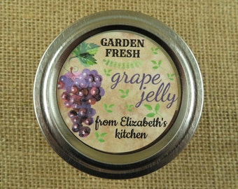 Personalized Canning - Vintage Grape Design - 20 4 Oz  Mason Jars Jars or 12 8 Oz Square Mason Jars With Custom Labels - vfc