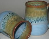 Pottery Mug, XL 20 oz Sand 'n' Sea Blue and Gold, Handmade, Microwave Dishwasher Safe