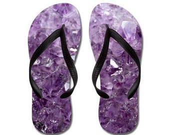 Flip Flops - Purple Pink Amethyst, Geode, Geology, Geological, Mineral, Nature Photography - RDelean