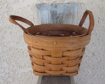 Longaberger Baskets-Small Basket w leather loop handles-1990