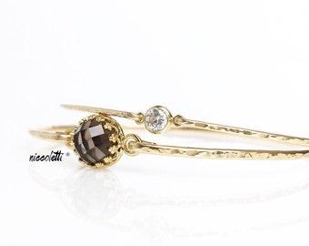 Smoky Quartz Bangle Bracelet / 14k Gold Filled or Sterling Bangle / Mothers Jewelry / Gemstone Bangle / Gift for Her / Thin Gold Bangle