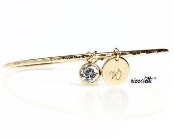 Set of BRIDESMAID Personalized Bangles / Silver Or Gold Diamond Alernative Bracelets / Delicate Bridesmaid Jewelry / April Birthstone