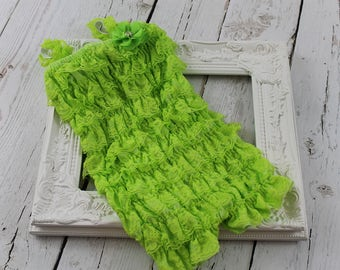 Lime Green Lace Baby Girl Romper Petti Lace Romper Baby Outfit Ruffle Romper Girls Romper Newborn Lace Romper 1st Birthday Photo Prop