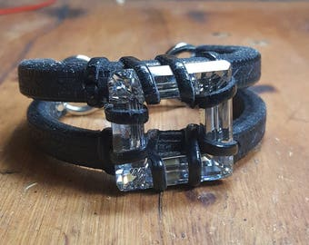 Swarovski crystal and black leather cuff