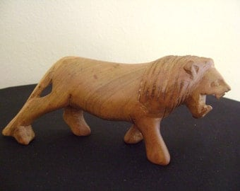 Vintage Hand Carved Wooden Lion Figurine
