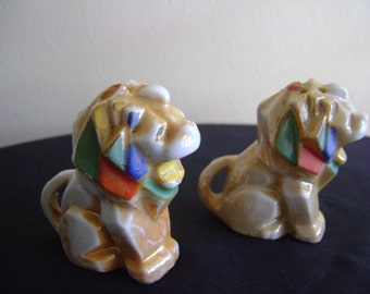 Vintage Lion by Lusterware Salt and Pepper Shakers Japan