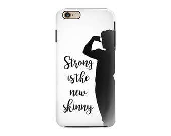 Strong Is The New Skinny Cell Phone Case Muscles Graphic Typography Exercise Quote Phone Case Cover For iPhones OR Samsung Galaxy