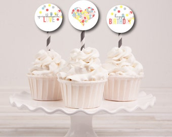 Sprinkled With Love Printable Party Circles Cupcake Toppers : Printable Party Designs by The Paper Doll