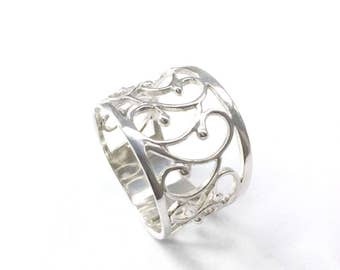 Unique Wedding Ring, Wide Wedding Ring, Silver Wedding Ring, Wide Wedding Band Ring, Promise Ring, Filigree Wedding Ring, Lace Wedding Ring