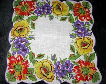 Flower Handkerchief Purple Hankie Flower Hankerchief rolled edge