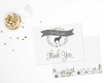 Baby Thank You, Derby Thank You Cards, Kentucky Derby Thank You Cards, Baby Shower Thank You Cards // Boy or Girl // Flat  // Set of 25