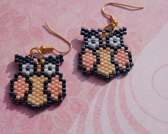 Owl Earrings Peyote Bead Work
