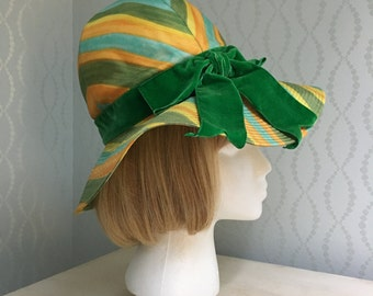 Green, Yellow & Blue Striped Floppy Hat by Emme Boutique