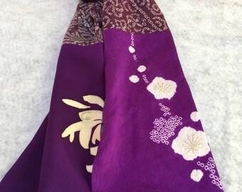 purple flowered kimono scarf