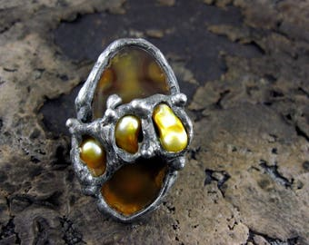 Yellow HONEY Ring • cocktail ring natural stone silver ring • Wide STERLING Silver BAND