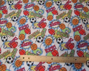 White with Multicolor Sports Balls/Words Flannel Fabric by The Yard
