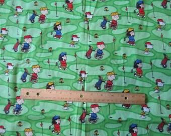 Green Peanuts Gang Golfing Cotton Fabric by the Half Yard