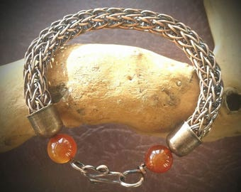 Chunky copper trichinopoly (viking weave) bracelet with carnelian