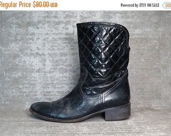 25% OFF Vtg 90s Black Patent Leather Quilted Motorcycle Boots 9
